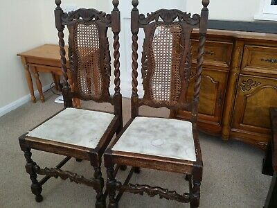 Pair-Of-Carved-Oak-Antique-Dining-Hall-Chairs-French style 1860-1890