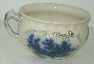 Good Quality English Victorian Antique Flow Blue Chamber Pot In Good Condition