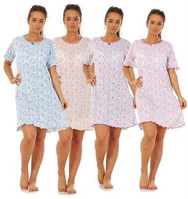 Ladies Girls Floral Short Nightdress 100% Cotton Short Sleeve Nightwear M to XXL