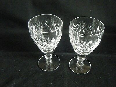 A Pair Royal Doulton Crystal Sherry Glasses 4.75 Inch Tall