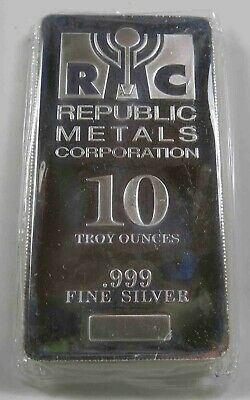10 Troy Oz .999 Silver Bar Republic Metals Corp. (RMC) ~ Mint Sealed  [2636