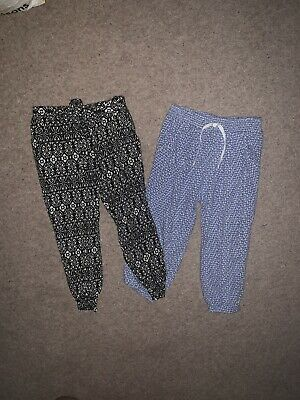 Age 2-3 Girls Loose Fit Lightweight Harem Trousers NEXT Light Blue & Black