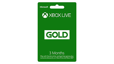 XBOX LIVE GOLD Membership Card for 3 months - Code for XBOX 360 or XBOX ONE