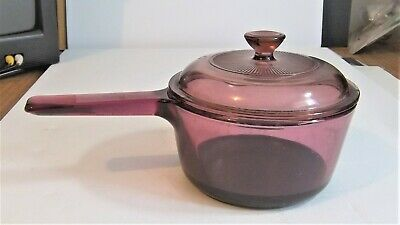 Pyrex Corning Vision Corning USA 1L Sauce Pan w Spout Cookware Cranberry V1C Lid