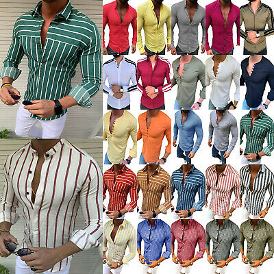 Men's Slim Fit Muscle Long Sleeve Muscle Tees T-shirt Casual Shirts Tops Blouse
