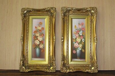 2 Robert Cox Floral Still life Oil Paintings on board Gold Gilded Wood Frames