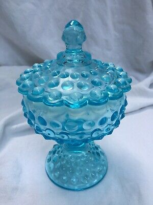 Fenton Blue Opalescent Hobnail Footed Candy Dish Bowl & Lid Vtg RARE EUC