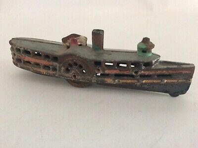 Vintage 1920s Wilkins Cast Iron Paddle Wheel Boat RARE