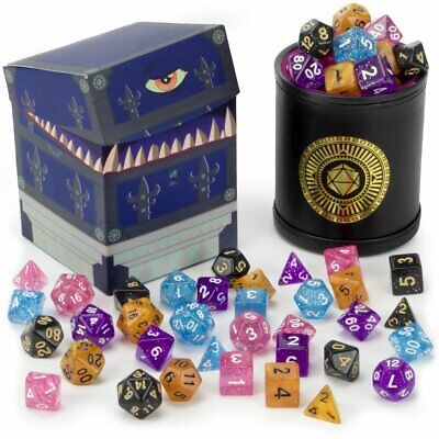 Wiz Dice Cup Of Wonder: 5 Sets Of 7 Premium Glitter Polyhedral Role Playing Gami