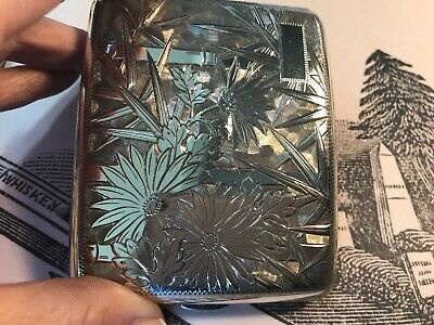 Antique Asian Japanese Fine Silver .950 Cigarette Case Sterling Flowers Bamboo