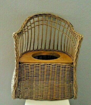 Vintage Wicker Child's Potty Chair Wooden Commode Seat - great flower pot holder