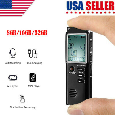32G VOICE ACTIVATED Mini Spy Digital Sound Audio Recorder