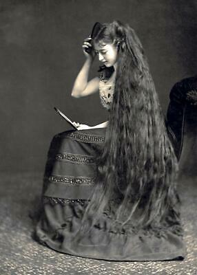 Antique Photo ... Victorian Woman With Long Hair ... Photo Print 5x7