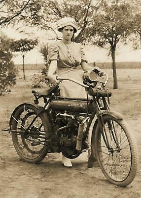 Antique Photo... Woman w/ Flying Merkel Motorcycle ... Photo Print 5X7