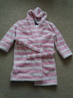 Mini Boden pink stripe dressing gown robe 7-8 very good condition