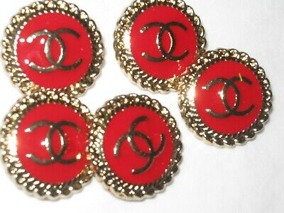 CHANEL  5 CC  LOGO red gold  18mm BUTTONS THIS IS FOR five