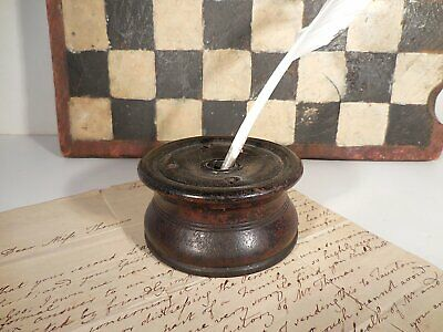 AAFA Early Chester CT Painted Wood Inkwell Antique Samuel Silliman & Co Inkwell