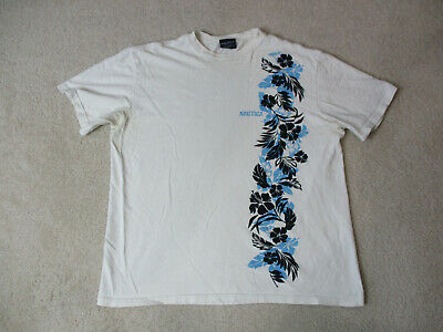 VINTAGE Nautica Shirt Adult Large White Blue Floral Spell Out Logo Mens 90s *