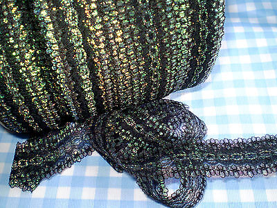 "Eyelet/knitting in/coathanger lace 4.9 metres x 3.5 wide ""Black Opal"" colour"
