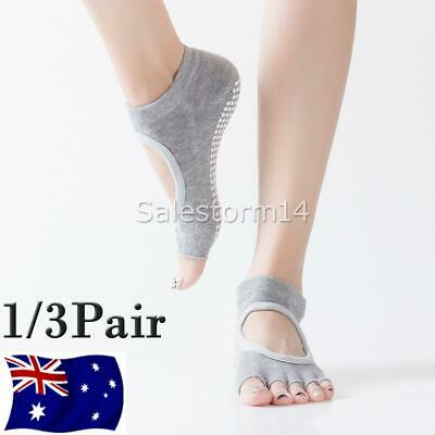 3 pairs Yoga Pilates Socks (Black/Grey/Lavender)