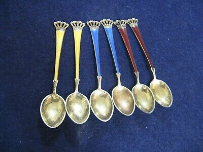 6 STERLING SILVER and ENAMEL DEMITASSE SPOONS with GOLD WASH by ELA of DENMARK