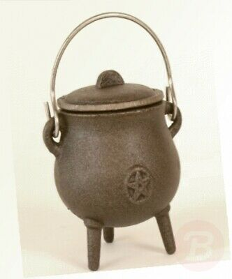 Small Cast Iron Pot Bellied Cauldron Pentagram Pagan Star 11cms Wicca ...