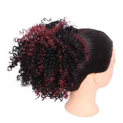 Afro Curly Ombre Chignon Drawstring Short Hair Buns Updo Ponytail Extensions