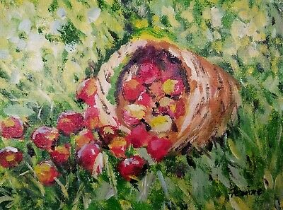 """Original acrylic painting still life apples in basket 6"""" by 8"""""""