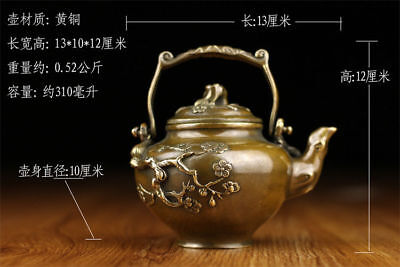 Chinese Old brass statue hand made plum Handle teapot wine pot flagon