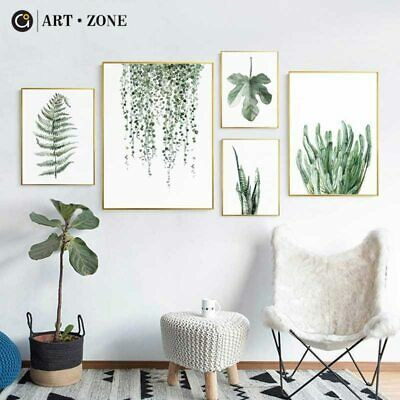 Tropical Plant Leaves Canvas Art Print Poster Nordic Green Plant Wall