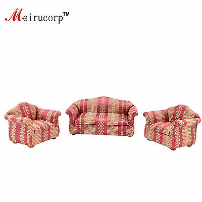 Dollhouse 1/12 scale miniature furniture Living room 2 chairs and a sofa set