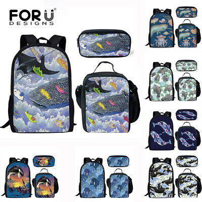Cool Whale Print Backpack Boys Girls School lunch Pen Bag Laptop Travel Rucksack