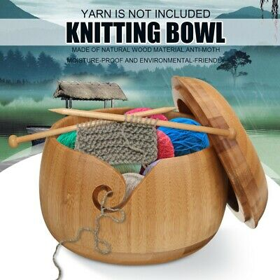 Bamboo Yarn Bowl Holder With Lid For Skeins Knitting Crochet Project Needlework