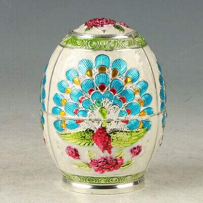 Chinese Cloisonne Handwork Carved Peacock Toothpick Box MY0662