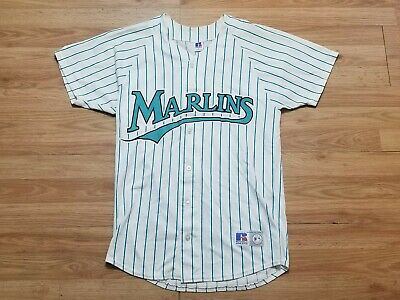 pretty nice 54860 9e328 VINTAGE 90'S FLORIDA Marlins Russell Athletic Pinstripe Jersey Men's Size  Medium