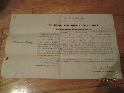 1843 Marcus Morton Govenor Of Ma,john A Bolles General Signing Of 2Nd Lieutenant