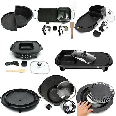 2 In1 Electric Barbecue Pan Grill Teppanyaki Cook BBQ Oven Hot Pot Kitchen Shabu