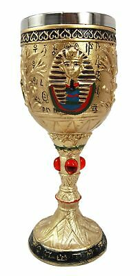 Ebros Ancient Egyptian Pharaoh King Tut Resin Wine Goblet Chalice With Stainl...