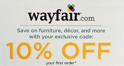 Wayfair 10% Off Entire 1st Order Coupon Online Wayfair.com Exp 10/31/2019