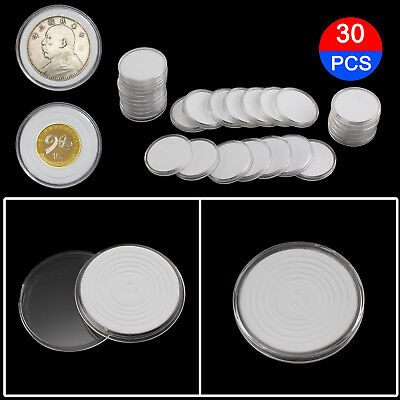 UK 30X 46mm Coin DISPLAY Cases Capsules Holder Clear Plastic Round Storage Box