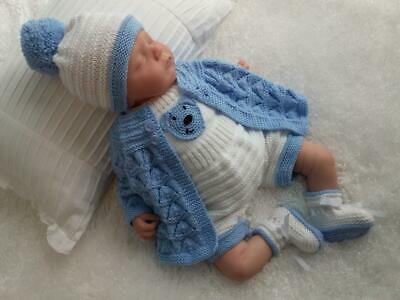 Snazzy Hand Knitted 5 Piece Romper Set  for a Baby Boy or Reborn Doll
