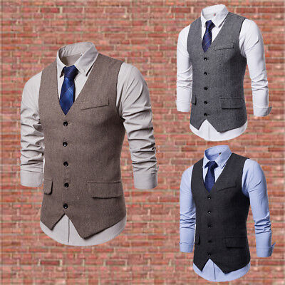 New casual fashion men's plain color simple single-breasted waistcoat suit vest