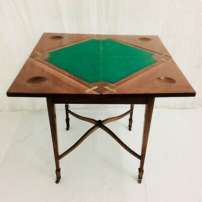 Stunning  Victorian Edwardian Swivel Envelope Topped Fold Out Games Card Table