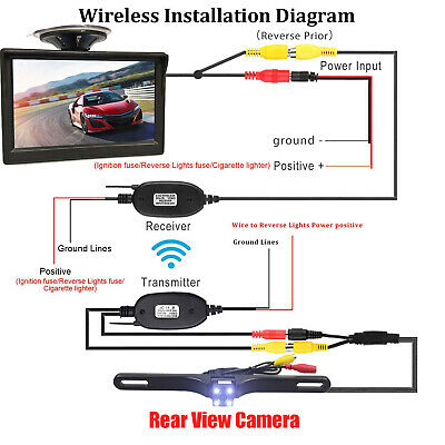 Wireless 5 Inch Monitor Car Rear View System Backup Reverse Camera Night Vision