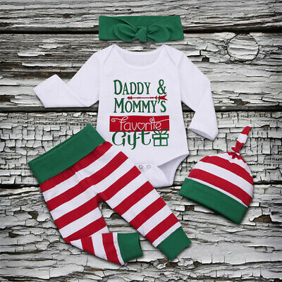 UK Baby Girl Boy Newborn First Christmas Clothes Romper Stripe Pants Outfit 4PCS