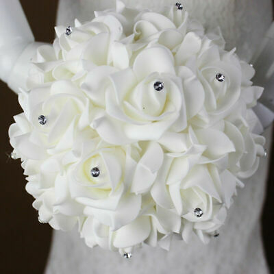 La main cristal Bridal Wedding Party Bouquets Roses fleur demoiselle d'honneur