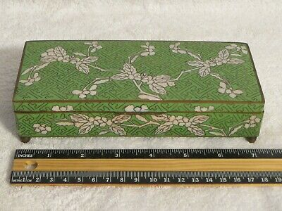 Antique Asian Green Floral Enamel Cloisonne Humidor Jewelry Trinket Box 7.25 in.