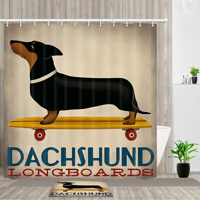 Longhair or Wire Doxies Dachshund Dog WIndow Valance or Shower Curtain Smooth