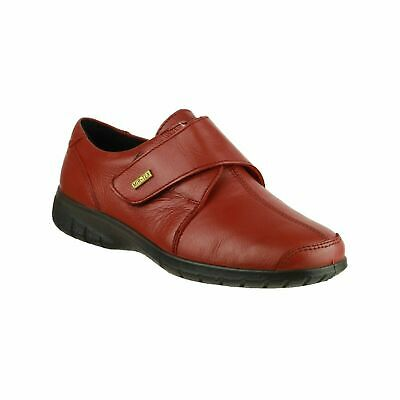 Cotswold Cranham Womens Red Smart Waterproof Leather Touch Fasten Shoes