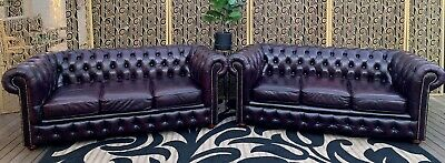 Gorgeous Pair Of Plum Burgundy Leather 3 Chesterfield Sofa Couch Lounge Suite